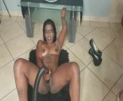 Desi slut in a French maid outfit masturbating with a vacuum cleaner from vakum